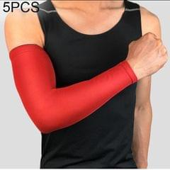5 PCS Breathable Quick Dry UV Protection Running Arm Sleeves Basketball Elbow Pad Fitness Armguards Sports Cycling Arm Warmers (Red)