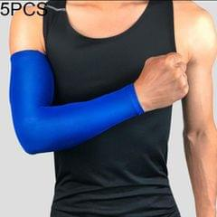 5 PCS Breathable Quick Dry UV Protection Running Arm Sleeves Basketball Elbow Pad Fitness Armguards Sports Cycling Arm Warmers (Blue)
