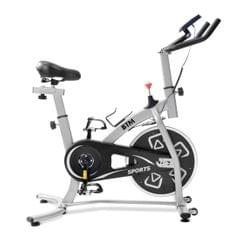 Indoor Fitness Bike, Home Exercise Flywheel, Spinning Bicycle With Adjustable Handle, Seat And Resistance (Silver)