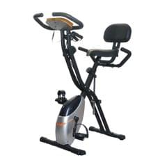 38492 X-shape Indoor Magnetic Control Spinning Bike Fitness Bicycle with Backrest & LCD Display (Silver)