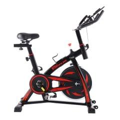 S-350 Indoor Silent Spinning Bike Fitness Bicycle with Adjustable Seat / Handle & Beverage Holder & Mobile Phone / Tablet PC Holder & LCD Monitor, Bearing Capacity: 130kg (Black Red)