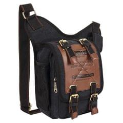 KAUKKO FH03 Retro Style Men Canvas Crossbody Bag Messenger Bag Outdoors Hiking Camping Bag, Size: 26 x 21 x 9 cm (Black)