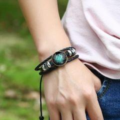 Constellations Couple Retro Weave Bracelets Leather Beads Bangle Bracelet Scorpio