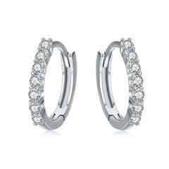 S925 Sterling Silver Jewelry Earrings Inlaid Zircon Earrings (White)