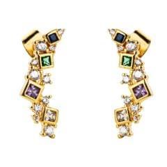 Female Copper Micro-inlaid Zircon Arc Earrings Wild Temperament Earrings