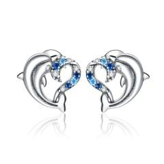 S925 Sterling Silver Dolphin Genie Zircon Women Earrings Jewelry