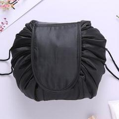 Fashion Waterproof Large Capacity Quick Drawstring Makeup Jewelry Storage Bag Women Travel Cosmetic Bag Toiletry Tool Kit (Black)