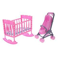 1/6 Pink Baby Cradle Bed + Stroller Model Dollhouse Miniature Furniture for Blythe Dolls Accessory Kids Playset