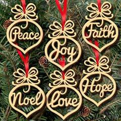 Set of 6pcs Wooden MDF Faith Noel Hope Love Joy Tags Christmas Decoration