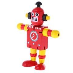 Mini Wooden Walnut Robot Toy Kids Gift Toy Walnut People Decor Red