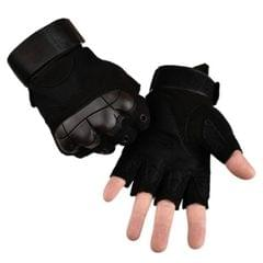 Male Half-finger Knife-resistant Riding Fighting Training Non-slip Wear-resistant Breathable Gloves, Size:XL (Black)
