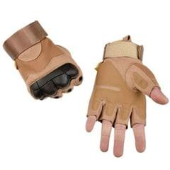 Male Half-finger Knife-resistant Riding Fighting Training Non-slip Wear-resistant Breathable Gloves, Size:XL (Light Brown)