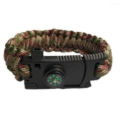 5 in 1 Outdoor Camping Rescue Bracelet with Flint & High-precision Mini Compass & Rope Cutter & Survival Whistle & Umbrella Rope Function (Army Green Camo)