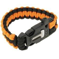 Multi-functional Outdoor Flint Nylon Braided Survival Bracelets with Whistle, Length: 25cm (Orange)