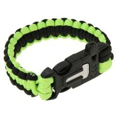 Multi-functional Outdoor Flint Nylon Braided Survival Bracelets with Whistle, Length: 25cm (Green)