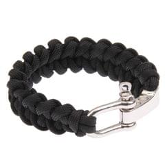 Multi-functional Nylon Braided Survival Bracelets with Adjustable Stainless Steel Shackle (Black)