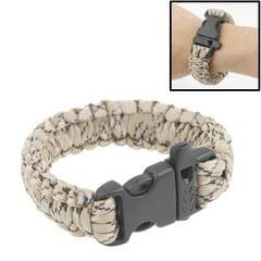 550 Paracord Weave Survival Bracelet with Whistle Buckle (Beige)