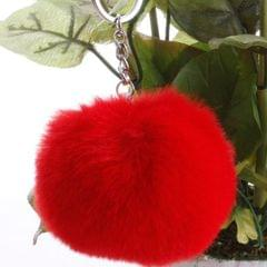 Simple Key Chain Fur Ball Pompon Keychain Pompom Artificial Rabbit Fur Animal Keychains for Woman Car Bag Key Rings (red)