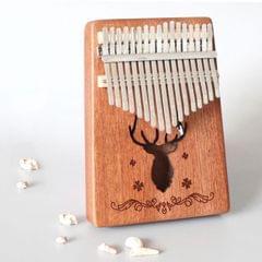 17-tone Kalimba Portable Thumb Piano, Style:Sapele-Classic Deer
