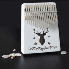 17-tone Kalimba Portable Thumb Piano, Style:White-Classic Deer