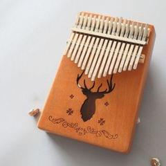 17-tone Kalimba Portable Thumb Piano, Style:Mahogany-Classic Deer