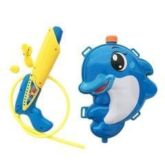 Children Backpack Water Pistol Dolphin Pull-type Pneumatic Water Pistol (Blue)