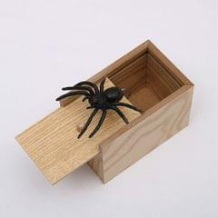 3 PCS April Fools Day Gift Wooden Prank Toy Spoof Spider Box (Yellow Box)