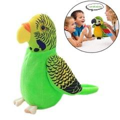 Plush Toy Parrots Recording Talking Parrots Will Twist the Fan Wings Children Toys, Size:Height 18cm (Green Tiger Skin)