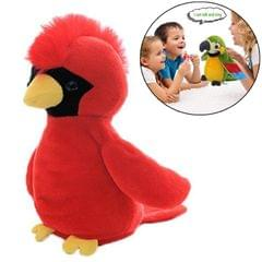 Plush Toy Parrots Recording Talking Parrots Will Twist the Fan Wings Children Toys, Size:Height 18cm (Red Mosigan)
