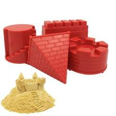 4 PCS Children Educational Toys Castle Molds Play Sand Tools (Red)
