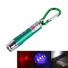 2 PCS Portable Colorful Metal Shell Mini LED Flashlight Torch Light Laser Light Keychain Outdoor for Hiking Climbing Money Detecting (Green)