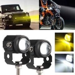 2 PCS DC9-36V / 20W / 6000K / 3000K / 2000LM Motorcycles Double Color Headlights / Fog Light