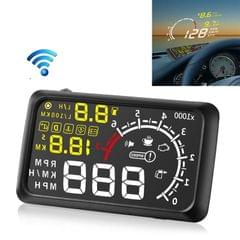 X3 Bluetooth 5.5 inch Car OBDII / EUOBD HUD Vehicle-mounted Head Up Display Security System, Support Speed & Fuel Consumption, Overspeed Alarm, Water Temperature, etc (Black)