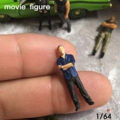 1/64 Characters Tiny Resin People Railway Road Diorama for Siku Dark Blue