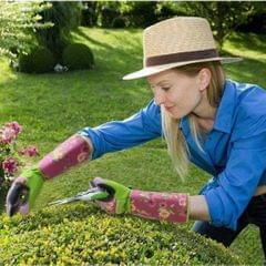 Long Gardening Gloves Oxford Clot/Cotton Cut Resistant Gloves Pink