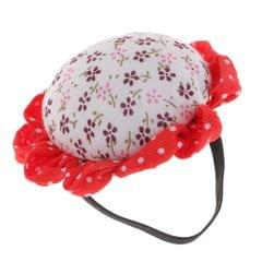 Fabric Coated Flower Pin Cushion with Wrist Band for Handy Needlework White