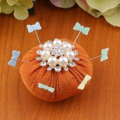 Sewing Needle Pin Cushion with Pearl Rhinestone Decoration Coffee