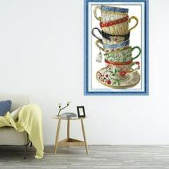 Coffee Cup Cross Stitch Kit Needlework Stamped for Beginners 28 × 42cm 14CT