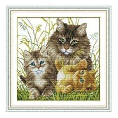 DIY Needlwork Stamped Cross Stitch Embroidery Kit - Cat Pattern 14CT 34x34cm