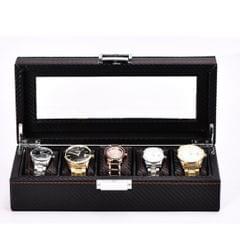 Black Carbon Fiber 5 Slots Watch/Jewelry Box Display Case Organizer Storage