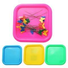 Square Magnetic Pin Cushion Pincushion Sewing Needles Organizer Yellow