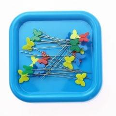 Square Magnetic Pin Cushion Pincushion Sewing Needles Organizer Blue