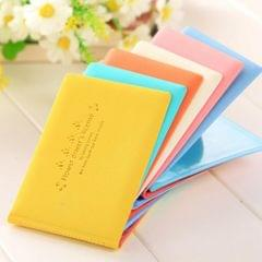 Macaron Color Business Card Holder PU Social Security Card Sleeves Yellow
