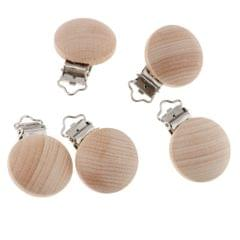 5 Pieces Round Holes Wooden Dummy Pacifier Clip for Infant Baby 3.5mm