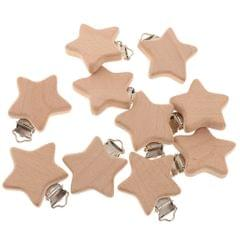10Pcs Beech Wooden Dummy Clip Pacifier Clip Holder Baby Star