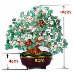 Mini Crystal Money Tree Bonsai Style Feng Shui Tree Home Office Decor Green