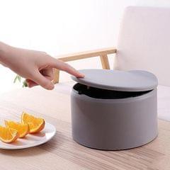 Plastic Mini Desktop Trash Can for Home Kitchen Countertops Living Room gray