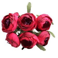 6 Pieces/Set Real Touch Silk Artificial Rose Flower DIY Decor Dark Red