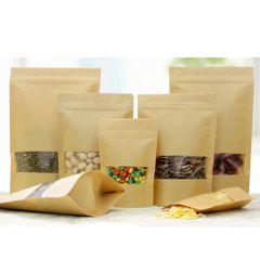 50x Kraft Paper Bag Stand Up Pouch Food Zip Lock Packaging w/ Window 9x14+3