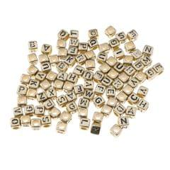100x Assorted Metallic Acrylic Alphabets Letter Cube Beads Pony Beads Gold